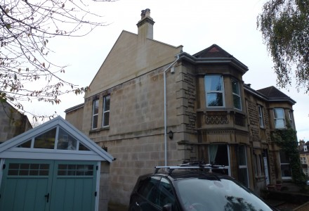 External view with bath stone