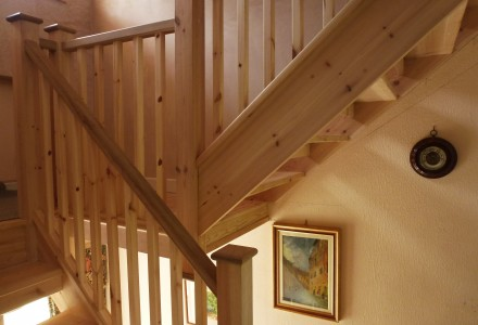Pine staircase custom built by MPK Lofts