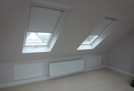 Bedroom with Velux Blinds