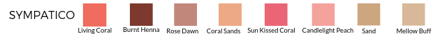 Living Coral, Sun Kissed Coral, Coral Sands, Rose Dawn, Burnt Henna, Candlelight Peach, Sand, Mellow Buff