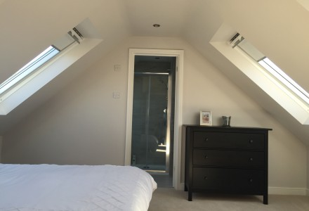 Bedroom with Velux Windows front and back