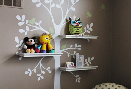 Incorporate wall decals into your shelving.