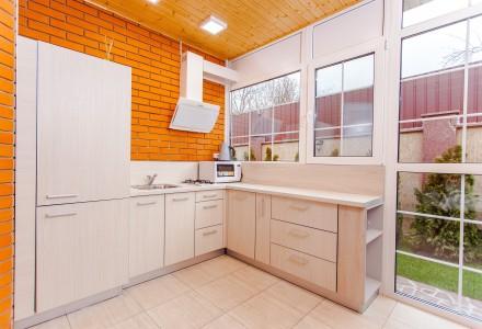 Industrial Kitchen with brick