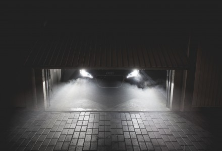 car headlights in garage