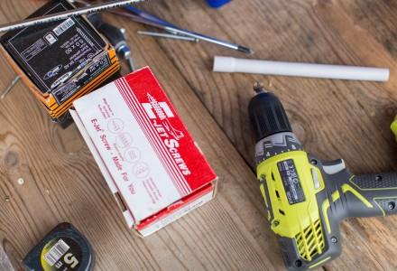 tools on hardwood floor