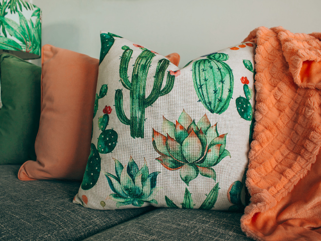 cushions blankets throws warm colours floral cactus print